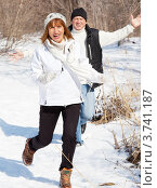 Купить «Счастливая пара средних лет зимой», фото № 3741187, снято 8 марта 2012 г. (c) Гладских Татьяна / Фотобанк Лори