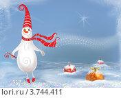 Новогодний фон, открытка.Задорный снеговик и ёлочные игрушки на снегу. Стоковая иллюстрация, иллюстратор Калятина Наталья / Фотобанк Лори