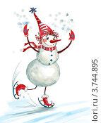 Весёлый снеговик на коньках.  На белом фоне. Стоковая иллюстрация, иллюстратор Калятина Наталья / Фотобанк Лори
