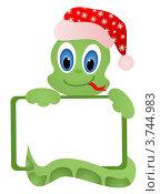 Купить «Змея в новогодней шапке с табличкой с местом для текста», иллюстрация № 3744983 (c) ivolodina / Фотобанк Лори