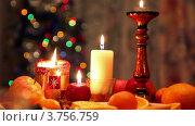 Купить «Бокалы и свечи на рождественском столе», видеоролик № 3756759, снято 12 ноября 2011 г. (c) Losevsky Pavel / Фотобанк Лори