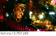 Купить «Игрушка в виде винограда на ветках новогодней елки, переливающейся огнями», видеоролик № 3757243, снято 9 октября 2011 г. (c) Losevsky Pavel / Фотобанк Лори