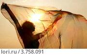 Купить «Силуэт женщины с легкой тканью в руках на фоне вечернего неба», видеоролик № 3758091, снято 3 ноября 2011 г. (c) Losevsky Pavel / Фотобанк Лори