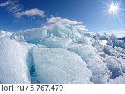 Купить «Лед на замерзшем озере Байкал», фото № 3767479, снято 7 апреля 2012 г. (c) Serg Zastavkin / Фотобанк Лори