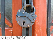 Железный замок висит на решетке. Стоковое фото, фотограф Анастасия Филиппова / Фотобанк Лори