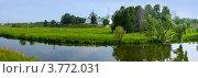 Купить «Панорама Суздаля, река Каменка», фото № 3772031, снято 22 сентября 2019 г. (c) ElenArt / Фотобанк Лори