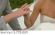 Невеста надевает кольцо на палец жениха. Стоковое видео, видеограф Losevsky Pavel / Фотобанк Лори