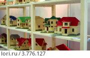 Купить «Макеты коттеджей из дерева стоят на полках», видеоролик № 3776127, снято 6 февраля 2012 г. (c) Losevsky Pavel / Фотобанк Лори