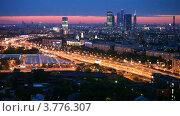 """Купить «Бизнес-центр """"Москва-Сити"""" вечером», видеоролик № 3776307, снято 26 февраля 2012 г. (c) Losevsky Pavel / Фотобанк Лори"""