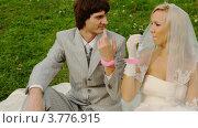 Жених и невеста в свадебном платье сидят на зеленой лужайке с розовыми наручниками на руках. Стоковое видео, видеограф Losevsky Pavel / Фотобанк Лори