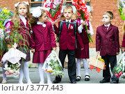 Купить «Первоклассники на праздничной линейке 1 сентября», фото № 3777443, снято 1 сентября 2011 г. (c) Maria Shumilina / Фотобанк Лори