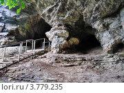 Лестница в Ахштырскую пещеру в Сочинском национальном парке, Россия (2011 год). Редакционное фото, фотограф Анна Мартынова / Фотобанк Лори