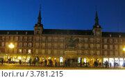 Купить «Памятник королю Филиппу III на Пласа Майор в Мадриде, таймлапс», видеоролик № 3781215, снято 3 мая 2012 г. (c) Losevsky Pavel / Фотобанк Лори
