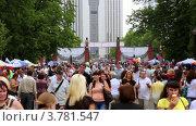 Купить «Много людей идут пешком через ворота в парке Сокольники в летний день», видеоролик № 3781547, снято 24 марта 2012 г. (c) Losevsky Pavel / Фотобанк Лори