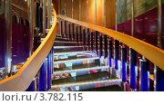 Купить «Движение вверх по винтовой лестнице в ресторане на корабле», видеоролик № 3782115, снято 1 июля 2012 г. (c) Losevsky Pavel / Фотобанк Лори