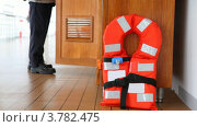 Купить «Спасательный жилет на корабле», видеоролик № 3782475, снято 3 июля 2012 г. (c) Losevsky Pavel / Фотобанк Лори