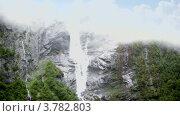 Купить «Водопад и река на каменистой горе с лесом», видеоролик № 3782803, снято 17 июня 2012 г. (c) Losevsky Pavel / Фотобанк Лори