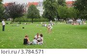 Купить «Много людей отдыхают на траве в Королевском парке в выходные», видеоролик № 3784571, снято 23 июня 2012 г. (c) Losevsky Pavel / Фотобанк Лори