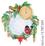 Купить «Новогодняя рамка со змеёй и снегирём», иллюстрация № 3787691 (c) Татьяна Петрова / Фотобанк Лори
