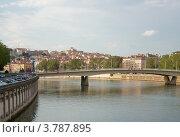 Купить «Мост Альфонс Жуэн на закате, река Сона, Лион, Франция», фото № 3787895, снято 10 июля 2012 г. (c) Виктория Фрадкина / Фотобанк Лори