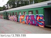 Пригородная электричка с граффити на Павелецком вокзале (2012 год). Редакционное фото, фотограф Елена Блохина / Фотобанк Лори