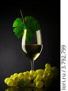 Бокал с вином и зелёный виноград, натюрморт. Стоковое фото, фотограф Иван Михайлов / Фотобанк Лори