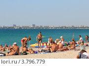 Купить «Песочно-галечный пляж Евпатории. Крым», эксклюзивное фото № 3796779, снято 27 августа 2011 г. (c) Rekacy / Фотобанк Лори
