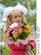 Купить «Нарядная школьница с букетом», фото № 3798127, снято 1 сентября 2012 г. (c) Володина Ольга / Фотобанк Лори