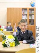 Купить «Первоклассник за партой с букетом  поднял руку. 1 сентября», фото № 3798827, снято 1 сентября 2012 г. (c) Юлия Кузнецова / Фотобанк Лори