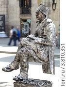 Купить «Живая статуя на улице Барселоны», фото № 3810351, снято 26 мая 2012 г. (c) Данил Руденко / Фотобанк Лори