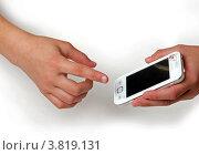 Сотовый телефон в руках (2012 год). Редакционное фото, фотограф Сергей Яхонтов / Фотобанк Лори