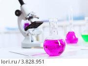 Купить «Колбы с разноцветными жидкостями и микроскоп в лаборатории», фото № 3828951, снято 18 августа 2012 г. (c) Sergey Nivens / Фотобанк Лори