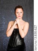Купить «Симпатичная девушка в черном корсете», фото № 3830627, снято 9 января 2011 г. (c) Татьяна Макотра / Фотобанк Лори