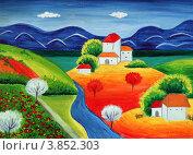 Купить «Загородный пейзаж, детский рисунок, гуашь», иллюстрация № 3852303 (c) Ирина Иванова / Фотобанк Лори