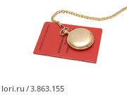 Партбилет члена КПСС и карманные часы на цепочке на белом фоне. Стоковое фото, фотограф Shlomo Polonsky / Фотобанк Лори