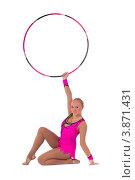 Купить «Гимнастка с обручем делает стойку», фото № 3871431, снято 12 сентября 2012 г. (c) Tatjana Romanova / Фотобанк Лори
