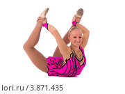 Купить «Гимнастка позирует на белом фоне», фото № 3871435, снято 12 сентября 2012 г. (c) Tatjana Romanova / Фотобанк Лори
