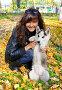 Девушка с щенком породы сибирский хаски (siberian husky) в осеннем парке, фото № 3872239, снято 22 сентября 2012 г. (c) ElenArt / Фотобанк Лори