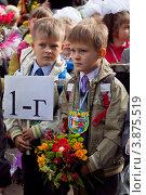 Купить «Близнецы-первоклассники на линейке 1 сентября», фото № 3875519, снято 1 сентября 2012 г. (c) Оксана Лычева / Фотобанк Лори