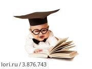 Интеллигентный малыш на белом фоне. Стоковое фото, фотограф Rumo / Фотобанк Лори