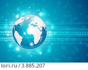 Планета Земля на фоне бинарного кода - концепция информационных технологий. Стоковая иллюстрация, иллюстратор Евгения Малахова / Фотобанк Лори