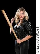 Купить «Блондинка держит биту на черном фоне», фото № 3890091, снято 25 декабря 2010 г. (c) Сергей Сухоруков / Фотобанк Лори