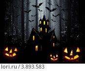 Купить «Иллюстрация к празднику Хэллоуин. Дом в ночном лесу, тыквы и летучие мыши», иллюстрация № 3893583 (c) ElenArt / Фотобанк Лори