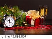 Купить «Натюрморт на тему Нового года с будильником и шампанским», фото № 3899807, снято 27 сентября 2012 г. (c) Sergey Nivens / Фотобанк Лори