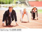 Купить «Соревнование бизнесменов на спортивном стадионе», фото № 3899899, снято 21 сентября 2012 г. (c) Sergey Nivens / Фотобанк Лори