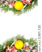 Рождественская рамка. Еловые ветки с ягодами рябины и желтым шарами. Стоковое фото, фотограф Сергей Фигурный / Фотобанк Лори