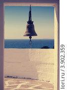Вид на море и колокольню в Греции. Стоковое фото, фотограф Антон Ляшенко / Фотобанк Лори