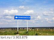 Купить «Дорожный указатель на Приволжск, Ивановская область», фото № 3903879, снято 11 июня 2012 г. (c) ElenArt / Фотобанк Лори