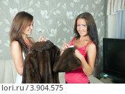 Купить «Две женщины чистят шубу дома», фото № 3904575, снято 5 июля 2011 г. (c) Яков Филимонов / Фотобанк Лори