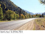 Купить «Дорога в горный курорт Архыз. КЧР», эксклюзивное фото № 3914751, снято 30 сентября 2012 г. (c) Rekacy / Фотобанк Лори